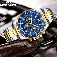 MEGALITH Luxury Mens Watches Sports Waterproof Hour Date Quartz Watch Men Full Stainless Steel Wristwatches For Male Clock chenxi luxury brand men business watch men s stainless steel date hour gold wristwatch for male quartz clock waterproof watches