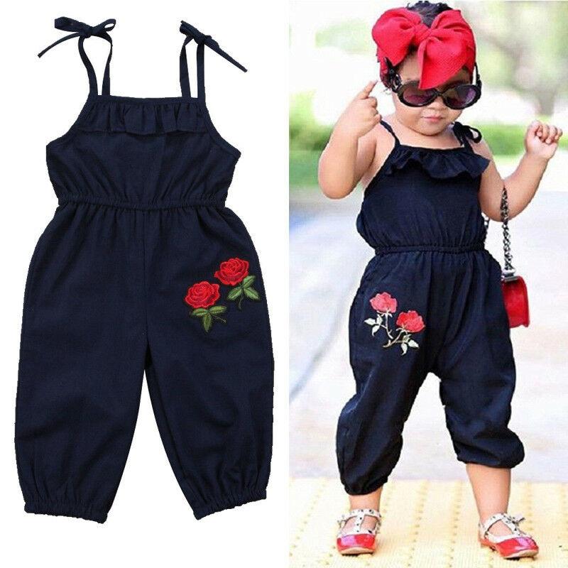 Toddler Kids Baby Girl sleeveless  Flower Halter Romper Jumpsuit Playsuit  baby girl summer sleeveless  casual  romper jumpsuit