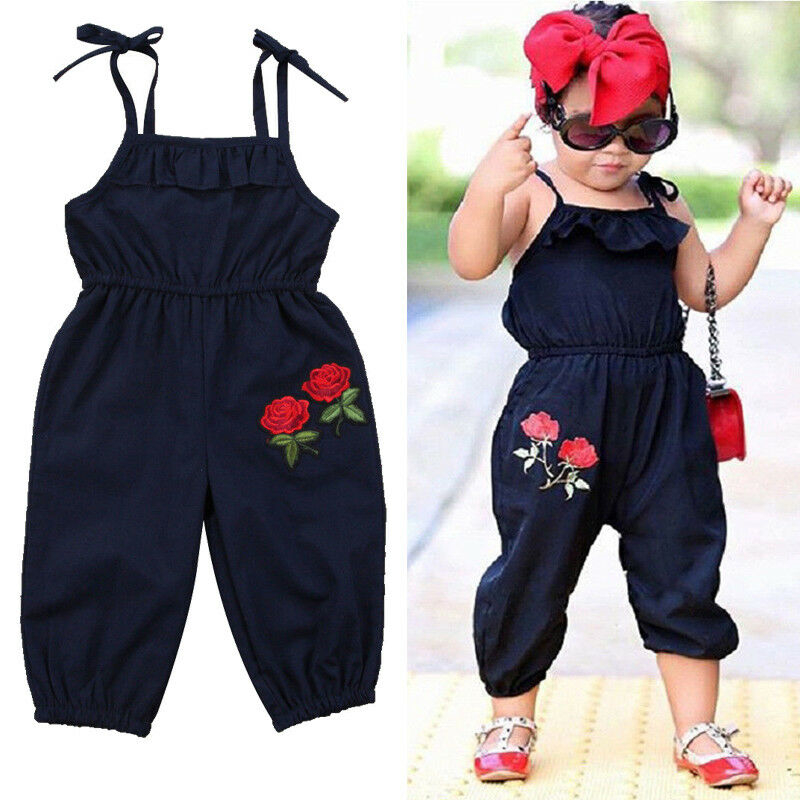 Toddler Kids Baby Girl sleeveless Flower Halter   Romper   Jumpsuit Playsuit baby girl summer sleeveless casual   romper   jumpsuit
