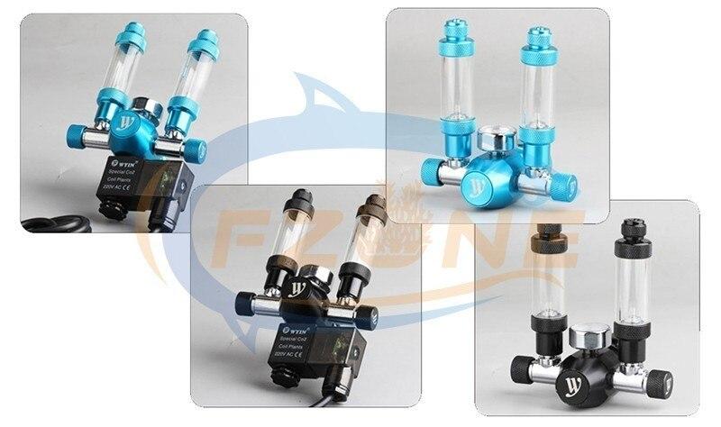 Chihiros acuario Wyin doble salida calibre CO2 regulador con válvula de contador de burbujas de válvula de solenoide y Kits de instalación - 5