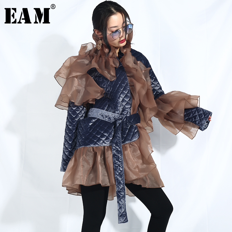 [EAM] 2019 New Spring Stand Collar Long Sleeve Organza Ruffles Split Joint Big Size Cotton-padded Coat Women   Parkas   Fashion JI58