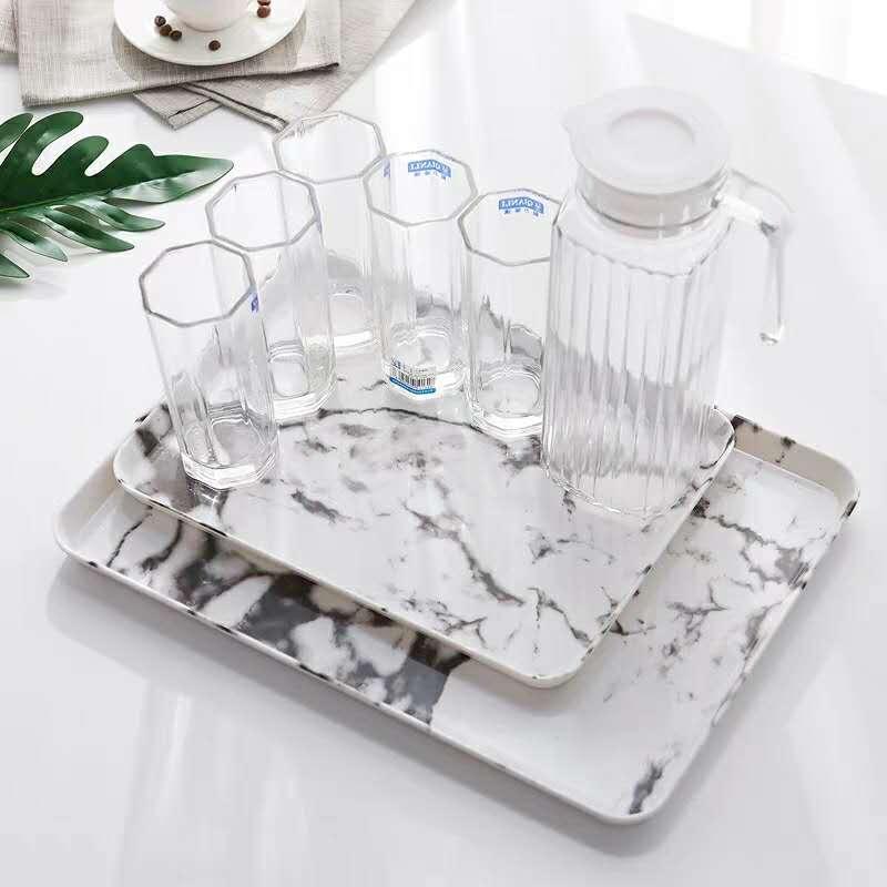 Plastic Rectangular Simple Bread Breakfast Plate Tea Cup Placement Marble Pattern Melamine Tea Plate Cake Fruit Dish Plate