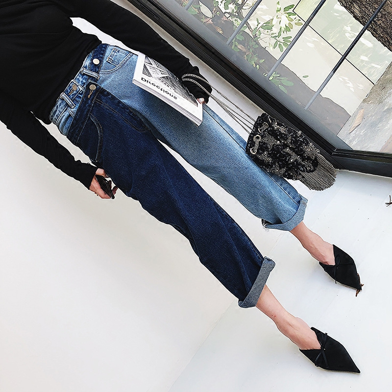 Fake Two-piece Colour Spliced Jeans Women Autumn 2019 New Korean Version of Hong Kong-style Straight Tube Nine Cents Trousers Price $29.30