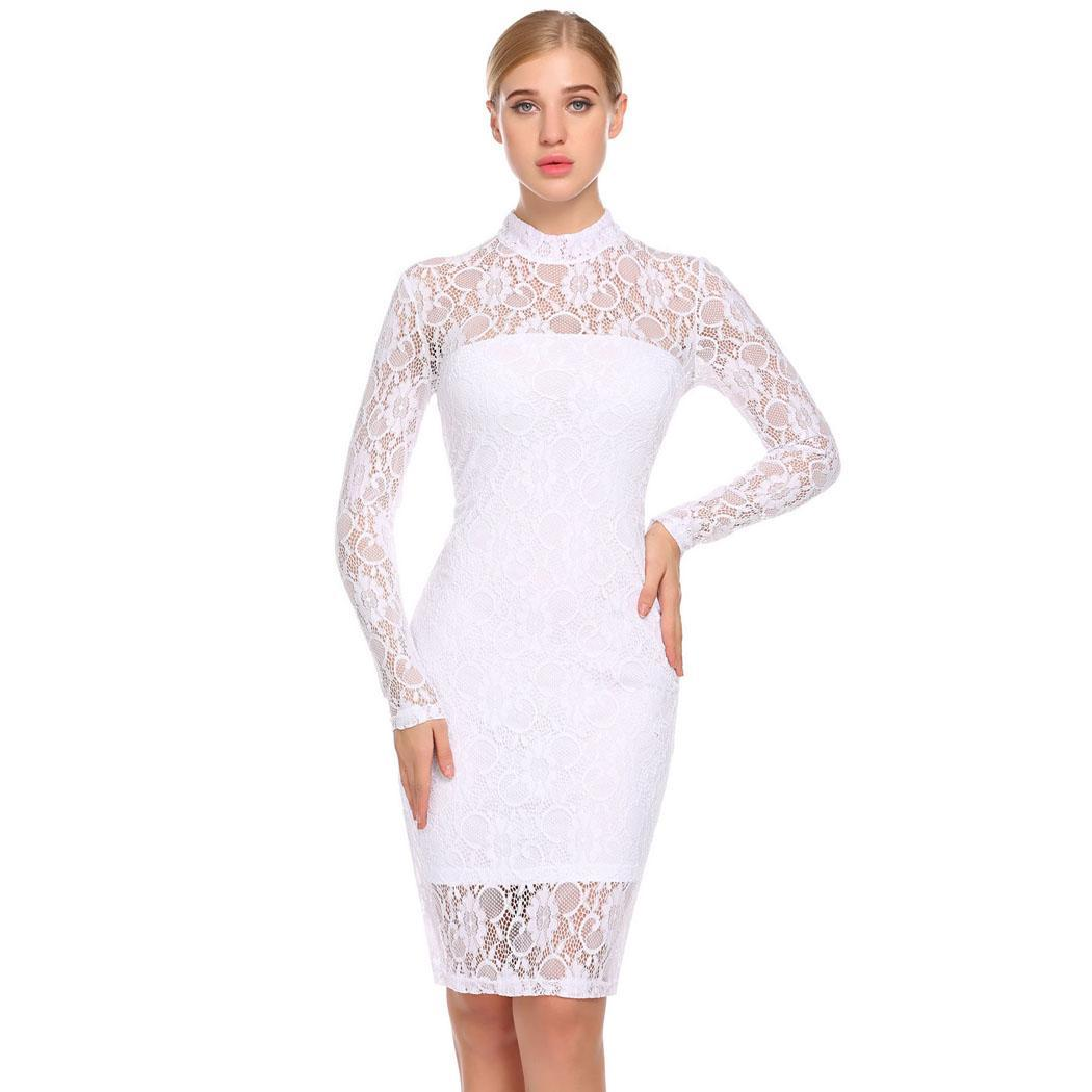 AL'OFA Women Party   Dress   Long Sleeve Sheer Floral Lace   Cocktail   Bodycon   Dress   Ladies Elegant Homecoming   Dress   White Black