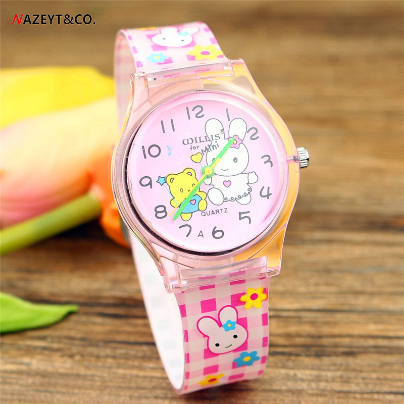 Nazeyt Lovely Rabbit Dial Cartoon Watch Middle Student Young Girls Friut Strawberry Face Waterproof Summer Watch Reloj Femenino