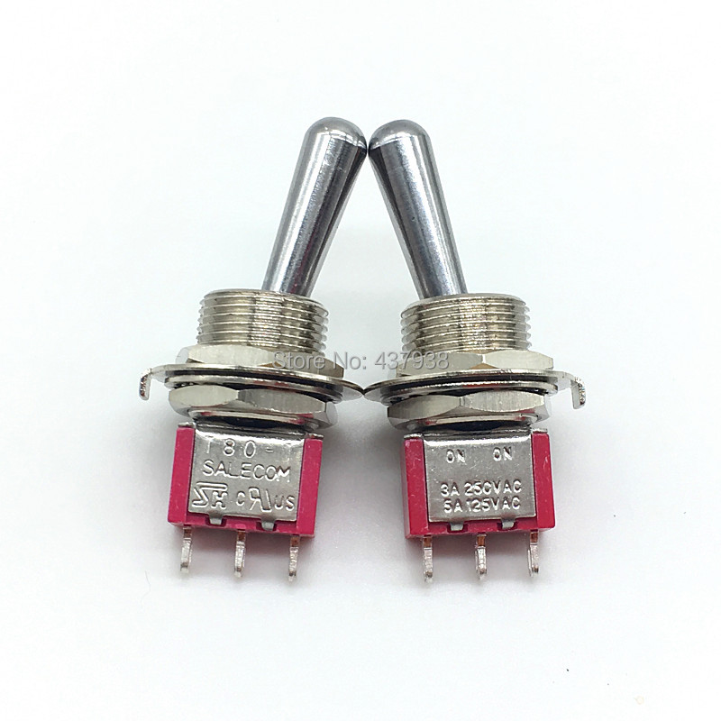 1PC SH <font><b>T8013</b></font>-Z1 12mm ON-ON SPDT 3Pin 2Position Maintained Mini Toggle Switch Large Long Handle 3A 250VAC/5A 125VAC image