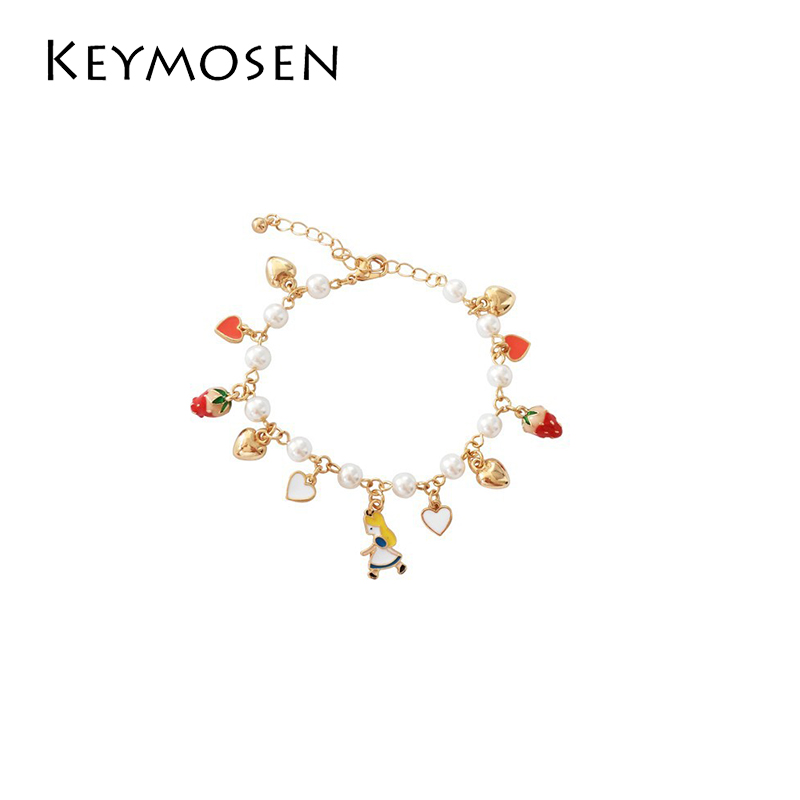 Sweet temperament lovely and simple hand chain strawberry alice love pendant pearl girl student bracelet