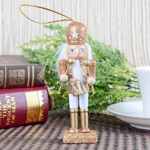Image 4 - 15 sztuk 12cm drewniany dziadek do orzechów żołnierz Model figurki lalek lalki rzemieślnicze dla dzieci prezenty boże narodzenie dekoracje do domowego biura wyświetlacz