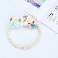 Cercle déco fleur perle bois 4