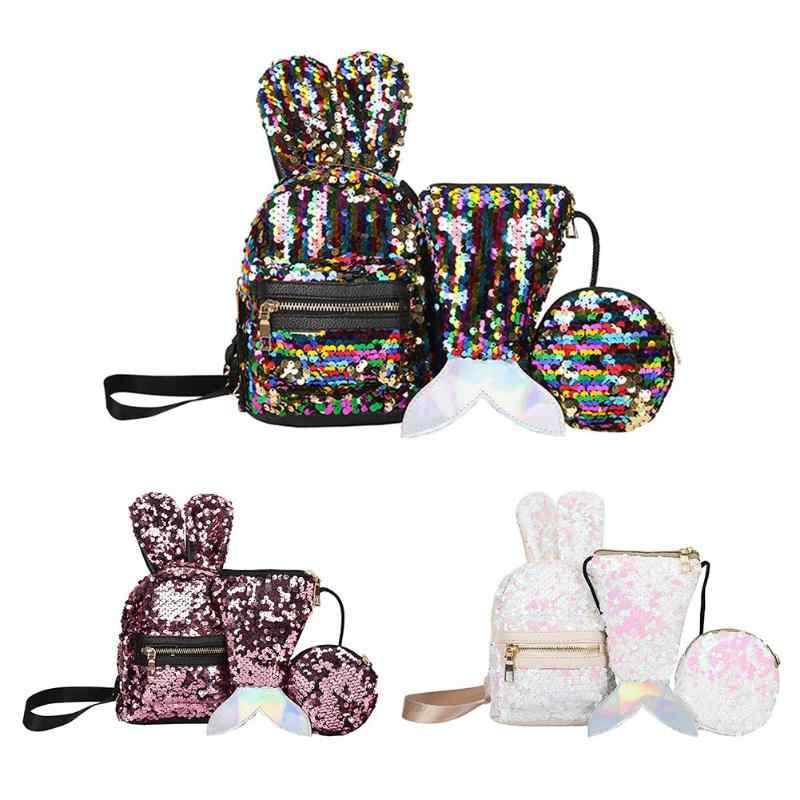 3 pçs/set brilhando lantejoulas mulheres mochilas adolescentes sacos de viagem grande capacidade glitter mochila festa escola bagpack