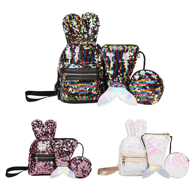 3pcs/set Shining Women Sequins Backpacks Teenage Girls Travel Large Capacity Bags  Glitter Rucksack Party School Bags Bagpack