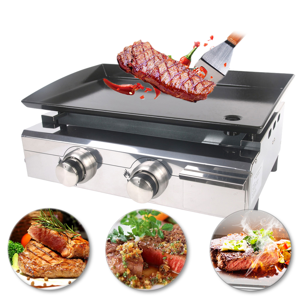 2 burners gas bbq grill gas griddle plancha stainless. Black Bedroom Furniture Sets. Home Design Ideas