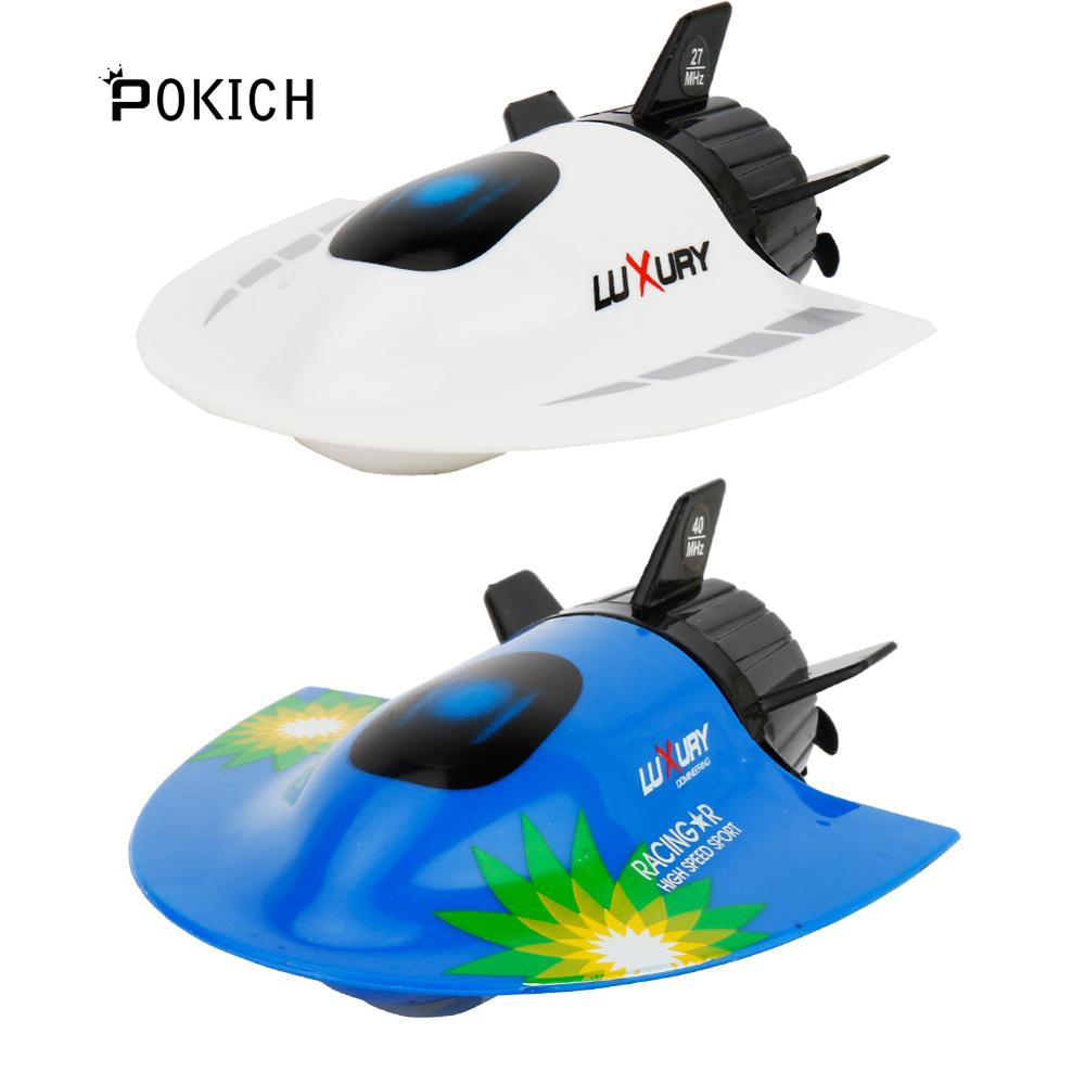 Pokich RC Submarine Mini RC Fishing Boat High Speed Racing Boat Radio Remote Control Submarine for Children Gift Outdoor Toy