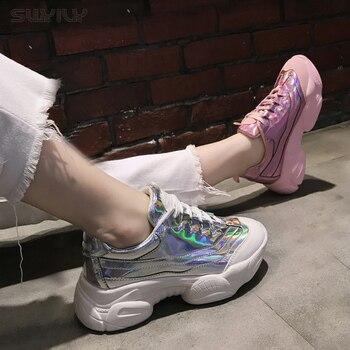 Chaussures Compensées En Or   SWYIVY Plate-forme Baskets Pour Femmes 2019 Nouvelles Femmes Chaussures Décontractées Wedge Talon Haut Or/argent/rose Mode Baskets Printemps Taille 40