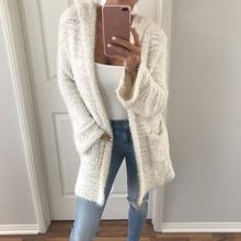 Solid Long Cardigan Women With Hooded Autumn Winter Sweater Female Casual Cardigans long sleeve outwear