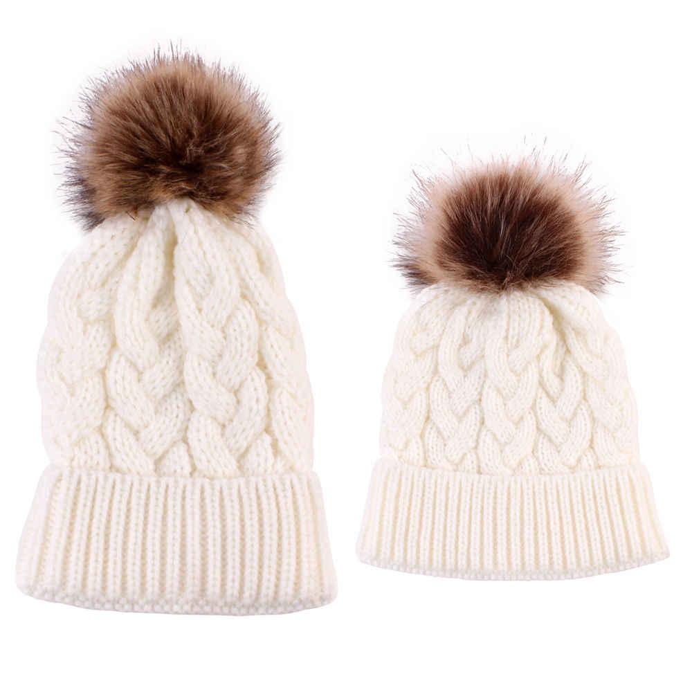 Pudcoco ลูกสาวแม่ลูกสาวฤดูหนาวถักหมวกขนสัตว์ Pom Beanie หมวกครอบครัวหมวกผู้หญิงเด็กหมวก