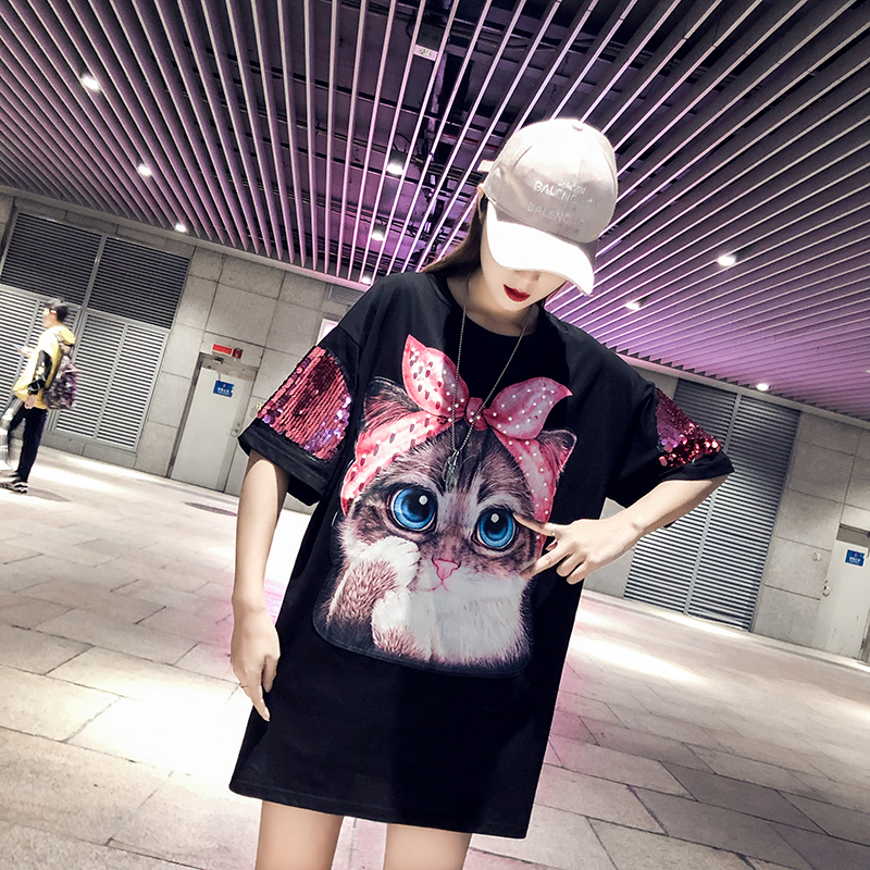 <font><b>T</b></font> <font><b>shirt</b></font> Harajuku Short-sleeve Casual <font><b>Dress</b></font> Women Cartoon Stare Big-eyed Cat <font><b>Dress</b></font> Slim tshirt <font><b>Dress</b></font> <font><b>Rock</b></font> Tops Hip Hop Streetwear image