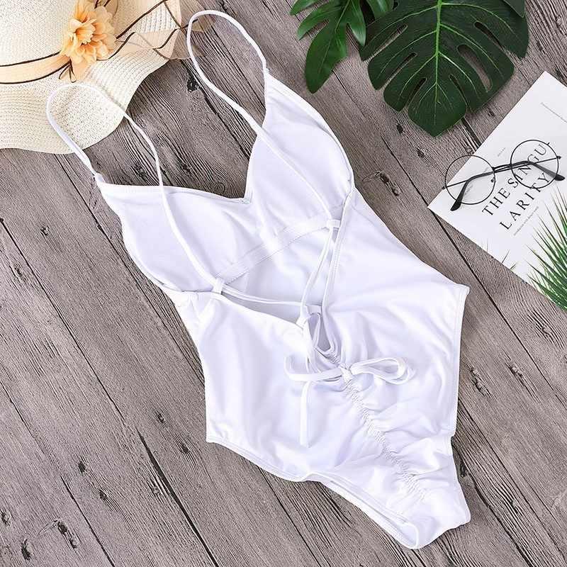 Женские одноцветные бикини, сексуальный бандажный Цельный купальник с открытой спиной, женские купальные костюмы, боди, пляжная одежда, новый купальный костюм, монокини