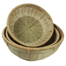 opening promotion-Bamboo Plate Hand-Woven Storage Basket Groceries Round Box Fruit Desktop Three-Pie
