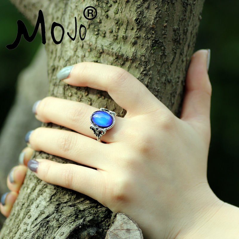 Ekstra gave Vintage Retro Farge Endring Mood Ring Oval Emotion Feeling Endring Ringetemperaturkontroll Ring for kvinner MJ-RS008