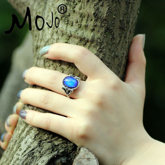 Extra Gift Vintage Retro Color Change Mood Ring Oval Emotion Feeling Changeable