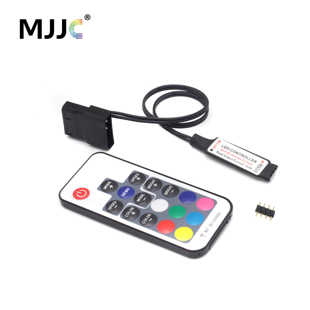 DC12V SATA RGB Controller Mini RF17 Keys Remote Wireless Large 4 Pin RGB Controller for PC Computer Case 5050 LED Strip Lighting