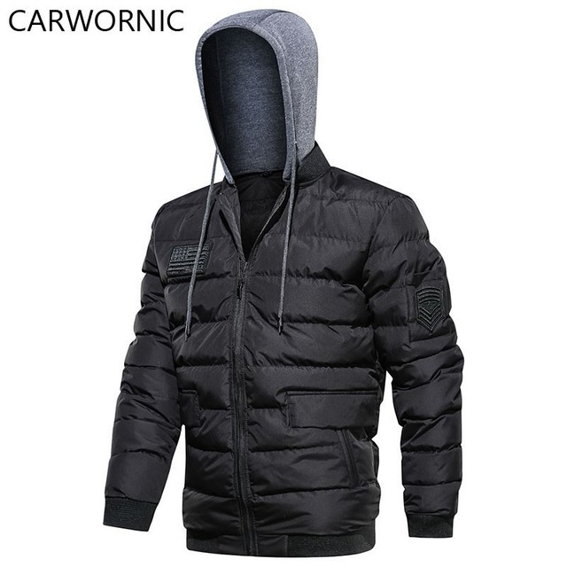 CARWORNIC Casual Jacket Men Cotton Warm Thick Windproof Street Clothing Jacket Solid Fashion Hoodie Windbreakers Male