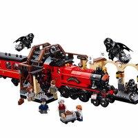 Новый комплект с изображением Гарри Поттера Legoinglys Hogwarts Express, строительные блоки для поезда, кирпичи, детские игрушки для мальчиков, Рождеств...
