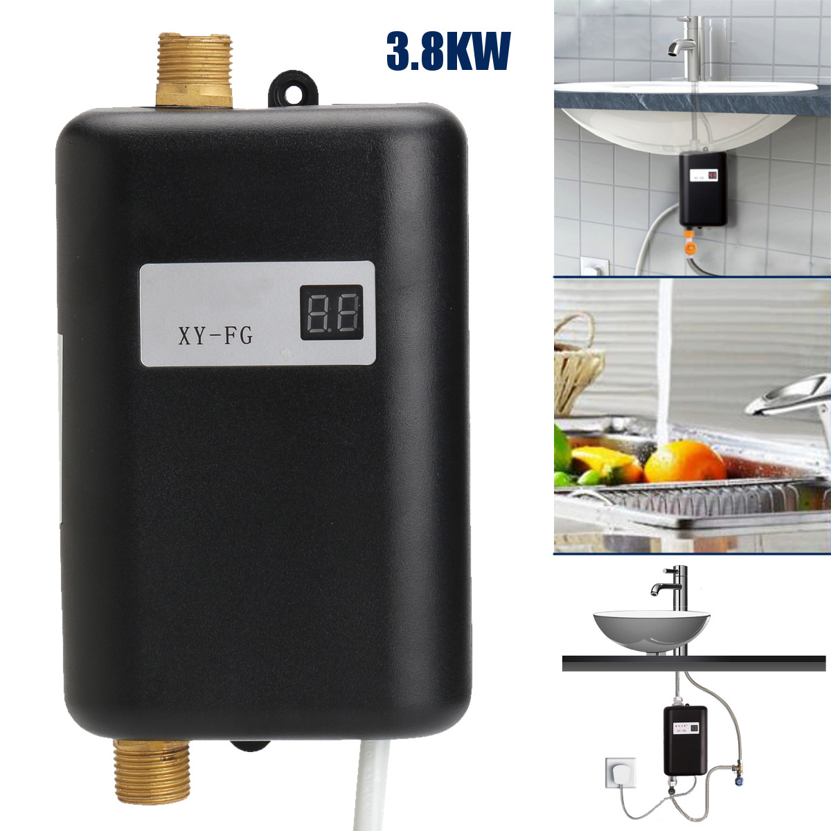 3800W/3400W Electric Water Heater Instant Tankless Water Heater 220V 3.8KW Temperature display Heating Shower Universal image