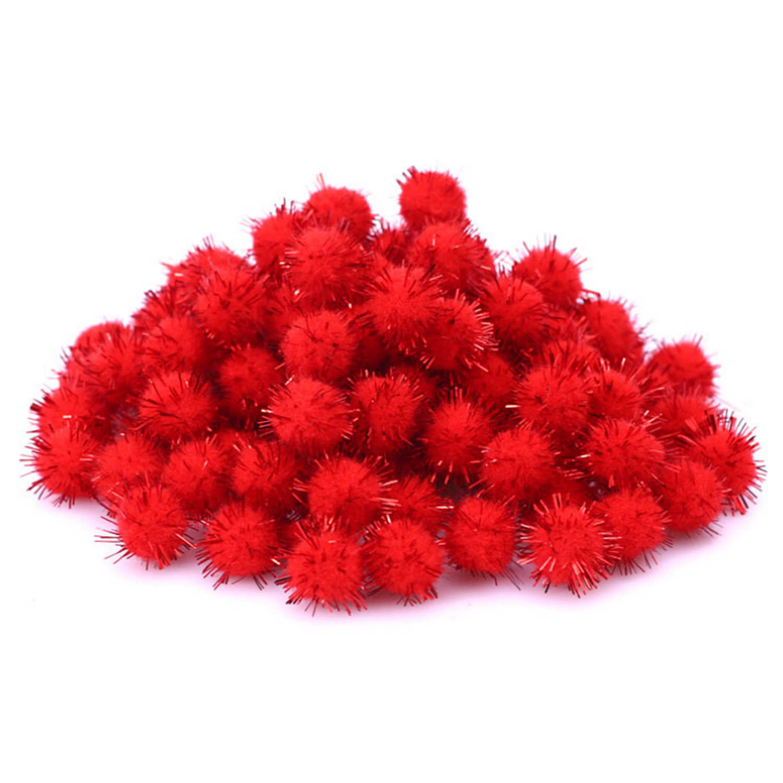 300 PCS Vermelho Verde Branco Pom Poms Pompons Bolas de Pêlo Brilhante Bling Do Natal para DIY Projetos de Artes Ofícios Início Quarto decoração Brinquedo