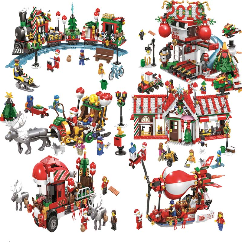2018 New Christmas Sets Santa Village Train Hot Air Balloon Compatible Legoing Building Blocks For Children Toys Christmas Gifts Highly Polished