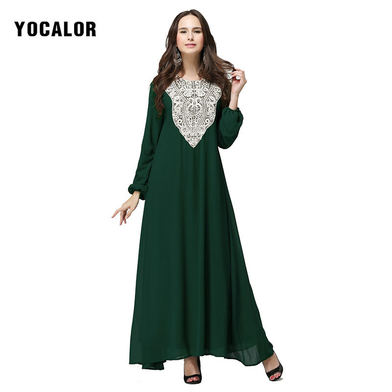 YOCALOR <font><b>7XL</b></font> Muslim Clothing Arab Robe Lace Summer Dubai Women <font><b>Dress</b></font> <font><b>Plus</b></font> <font><b>Size</b></font> 6l Long Maxi Girl Abaya Jalabiya Islamic Kaftan image
