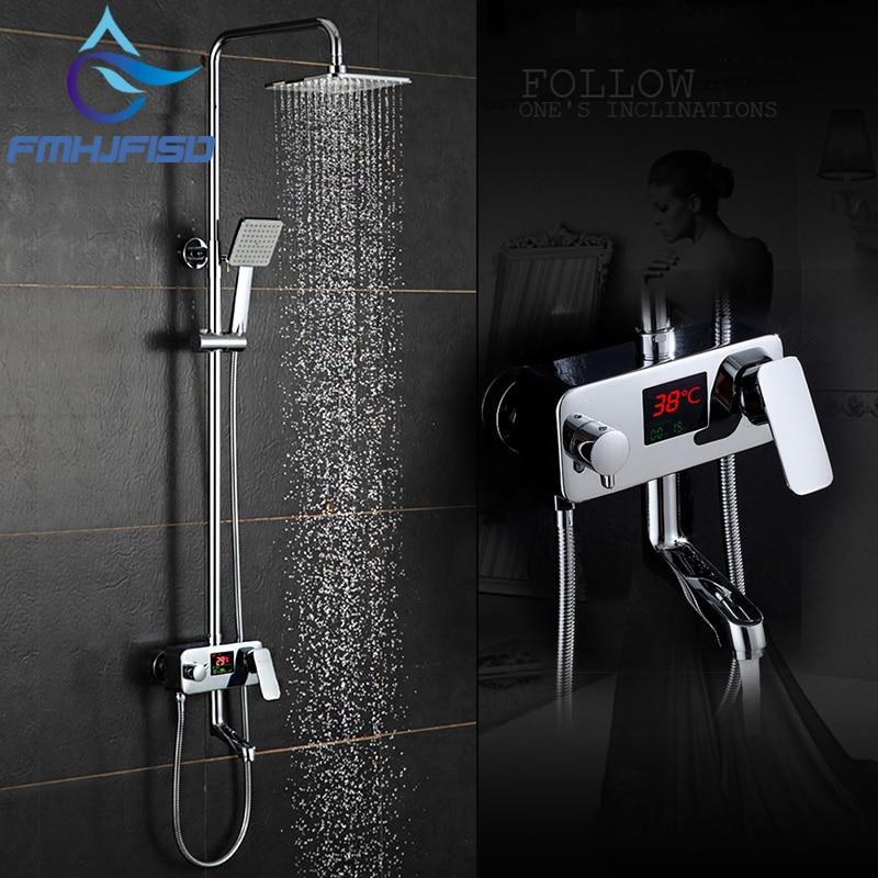 Digital LCD Display Bath Faucet Intelligent Bath Shower Faucet Smart Rain Waterfall Temperature Shower Mixer Tap