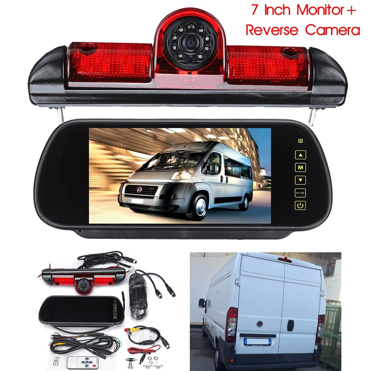 7 LED Moniteur + Inversion de Sauvegarde Caméra Arrière w/Lumière De Frein Pour Fiat Ducato pour Peugeot Boxer pour Citroen Relais