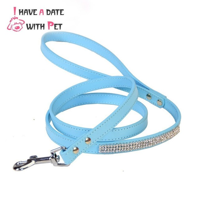 size S#1.5*120 cm,M#2.0*120 cm Leash for Dogs luxury Rhinestone decoration Pink Blue Red Durable Pu Leather Pet Dog Leashes Lead
