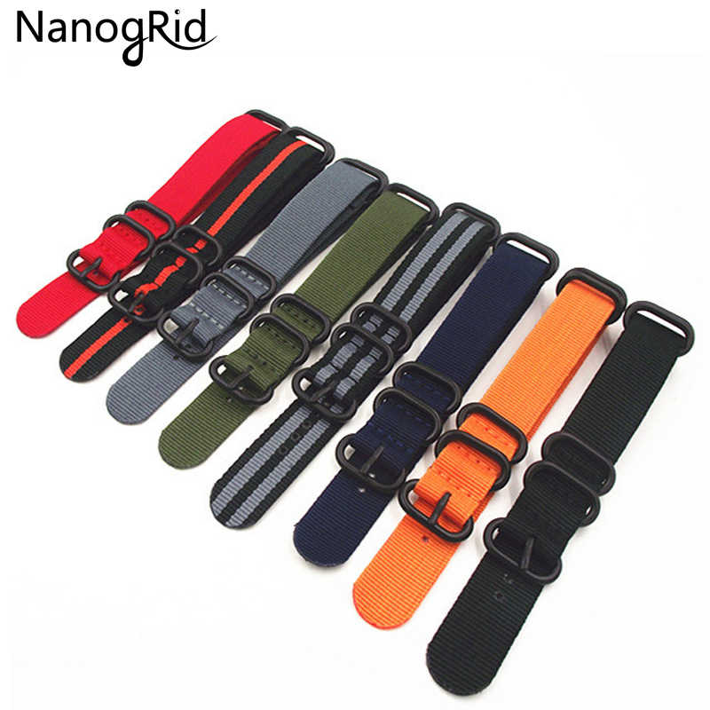 Fashion NATO Watch Band Nylon Strap Black 5 Rings Buckle 18mm 20mm 22mm 24mm Striped Simple Replacement Band Watch Accessories