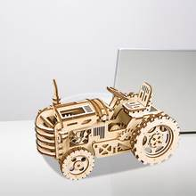Wood DIY Crafts Tractor Wooden Puzzle DIY Assembly Craft Kits Fantastic Educational Wooden Puzzle Model Kit Wedding Decoration(China)