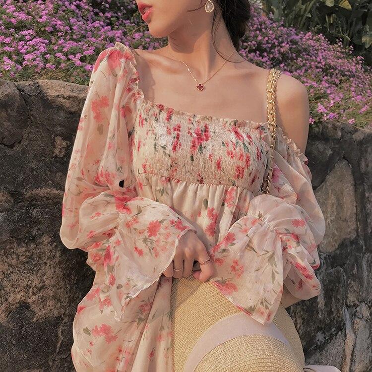 2019 Brand New Summer Dress Square Neck Long Sleeve Floral Dress Cute Lolita Style Chiffon Midi Dress Sweet Girls Dress Vestidos