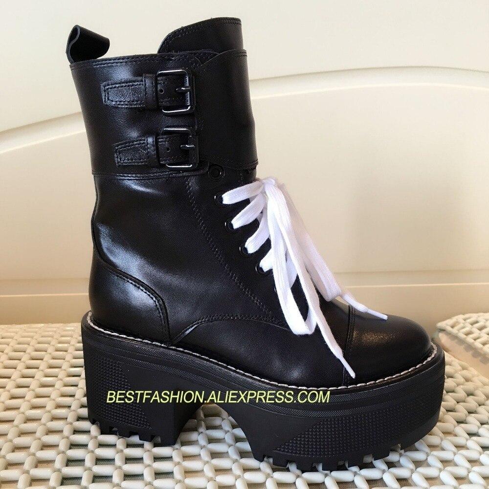 Femme Plate Chaussures Pour Piste En Chevalier Véritable Lacets Veau Pic Conception Cuir À forme Étanche Mujer As Automne Bottes Chaude Hiver 3R4AjLq5