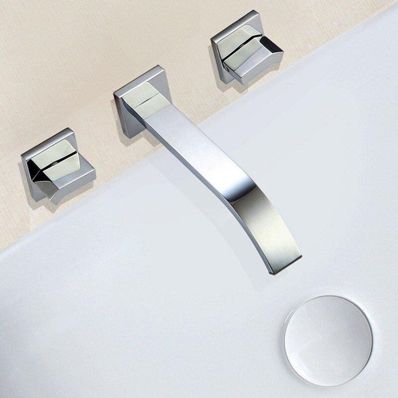 Xueqin Modern Chrome Polished Double Handle Waterfall Faucet Bathroom Basin Sink Mixer Tap Wall Mounted Bath