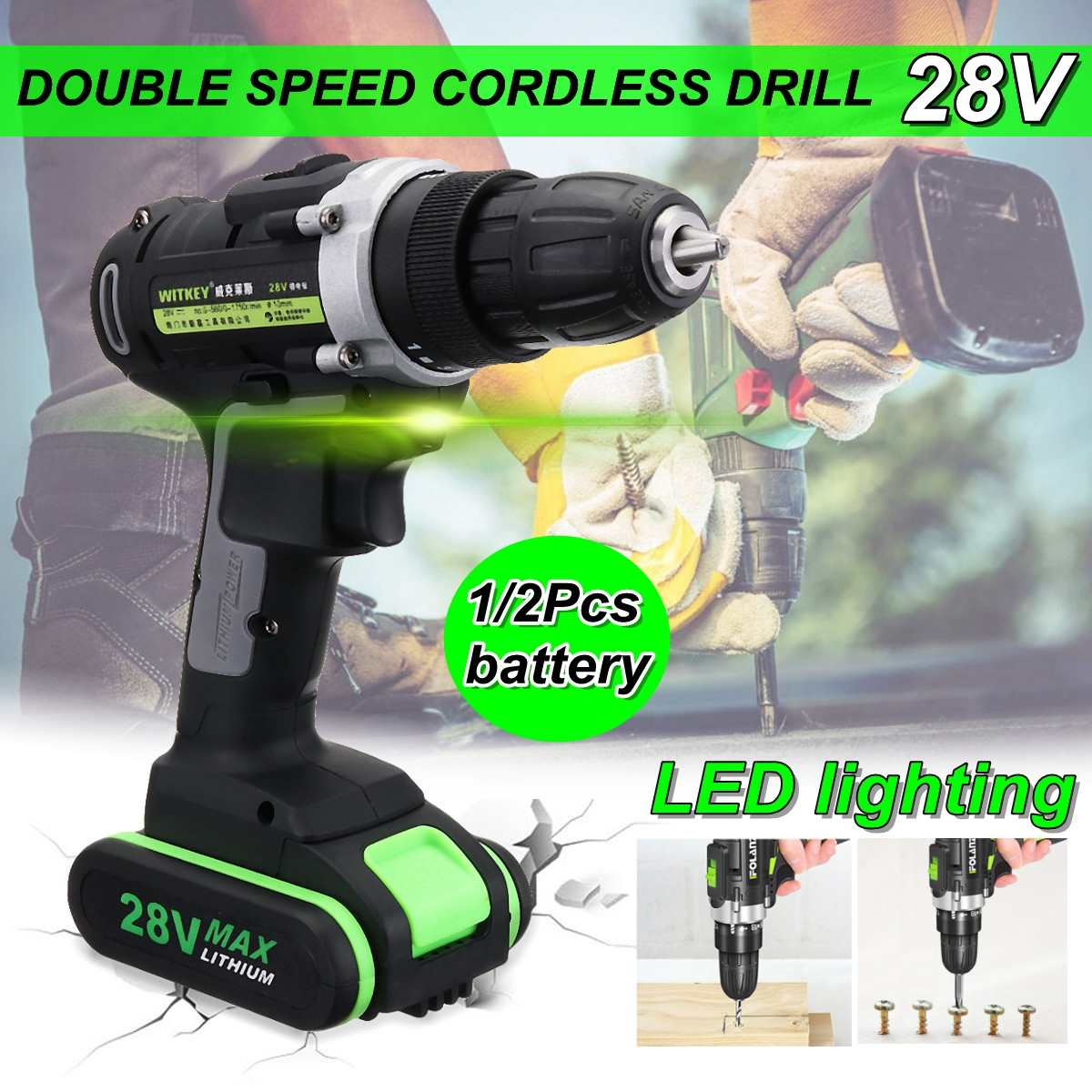 28V Two Speed Variable Wireless Electric Screwdriver Cordless Hammer Drill 0.8-10mm Chuck Driver Power 48Nm Led Light Power Tool28V Two Speed Variable Wireless Electric Screwdriver Cordless Hammer Drill 0.8-10mm Chuck Driver Power 48Nm Led Light Power Tool