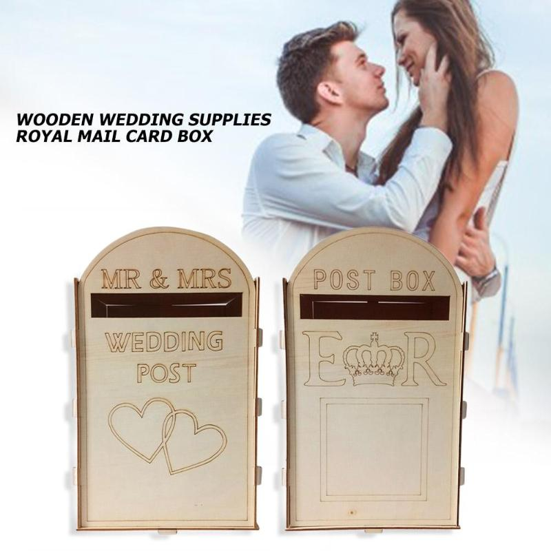 Hot Mail Style Wedding Card Post Box Wooden Gift Name Card Box With Lock For Party Wedding Decoration Supplies