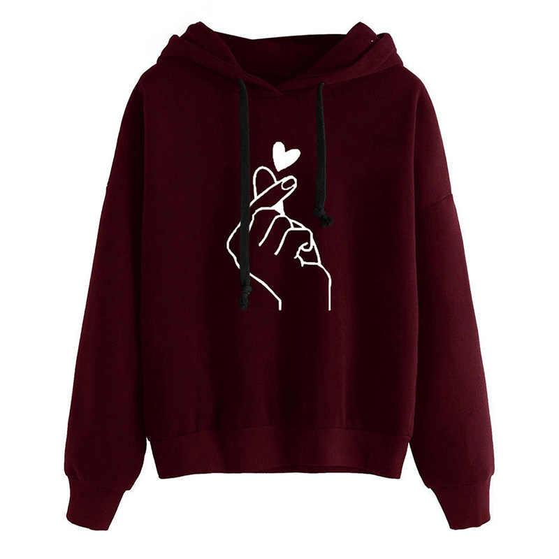 Harajuku frauen Sweatshirts und Hoodies Oversize Kpop Schwarz Rosa Liebe Finger Casual Streetwear Mädchen Kapuze Langarm Trainingsanzug