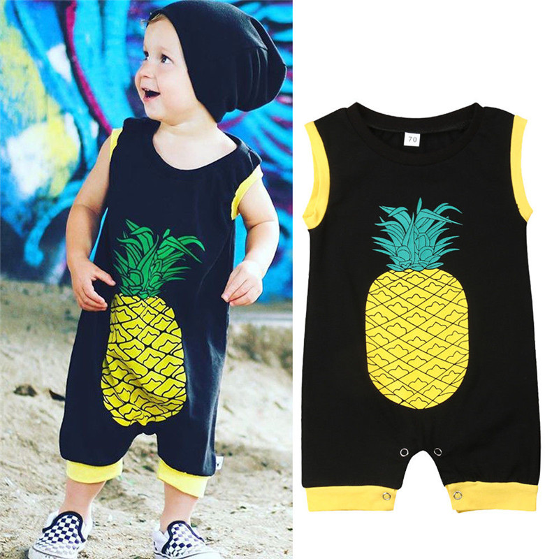 Baby Boy Girl pineapple Print jumpsuit Newborn Kid Sleeveless Coverall   Romper   Cotton Black Jumpsuit Playsuit Outfit Clothes