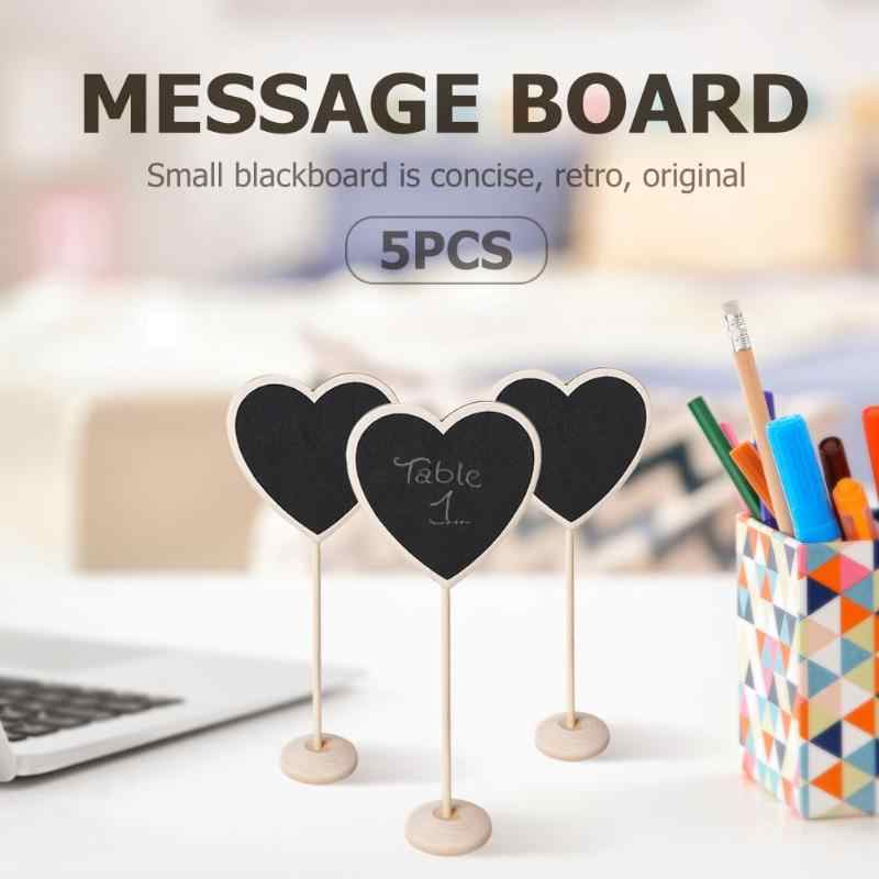 5pcs/set Mini Small Wooden Chalk Blackboard Signs Chalkboard Message Board Price Label for Wedding Decoration Party Supplies