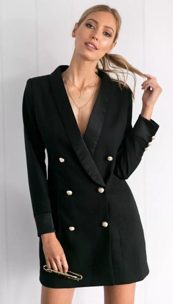 2019 European American Professional Small Suit New Double Row Buckle Commuter Large Suit Women Middle Length Blacksuit Jackets
