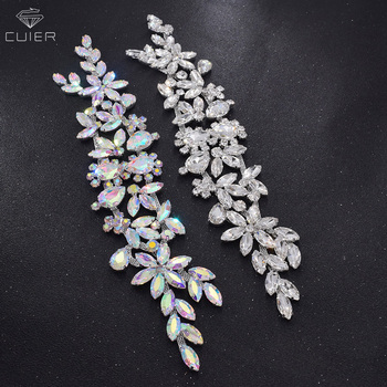 10pcs/lot luxury all glass rhinestone handmade bridal dress belt appliques sew on crystal trim DIY wedding dress decorate AB