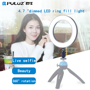 Image 5 - Puluz 4.6 Inch Usb 3 Modes Dimmable Photography Photographic Studio Ring Light Led Video Light & Cold Shoe Tripod Ball Head