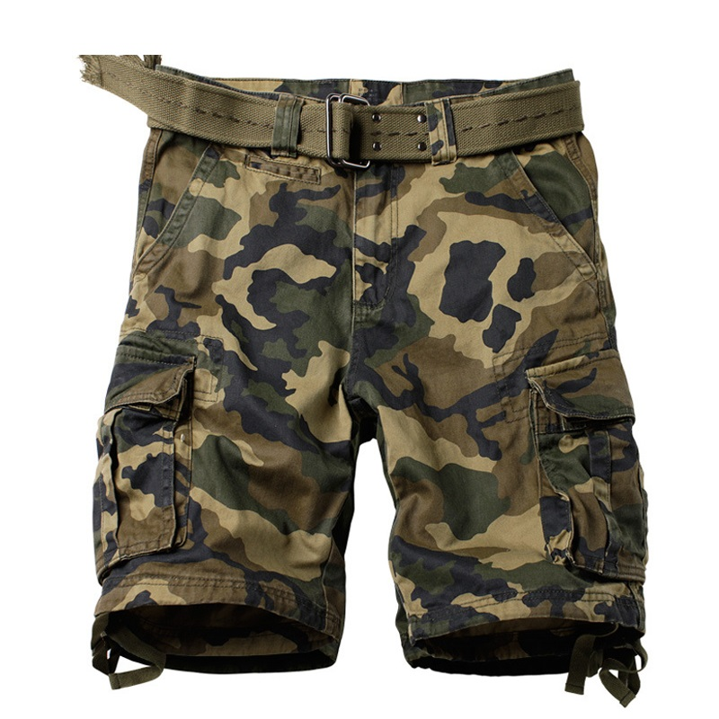 Cargo Shorts Men Camouflage Many Pockets Military Style Blue Camo Shorts Tactical Breeches Men Summer Short Trouser Male Bermuda