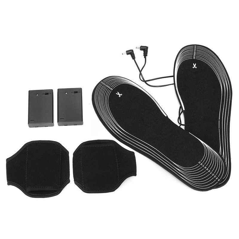 Schwarz 1 para Beheizte Einlegesohlen Batterie Powered Elektrische Schuhe Boot Kalt Schnee Füße Wärmer Winter Carbon Faser Erwärmung Heizung Pads